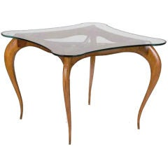 Exceptional Italian gaming table with four chairs