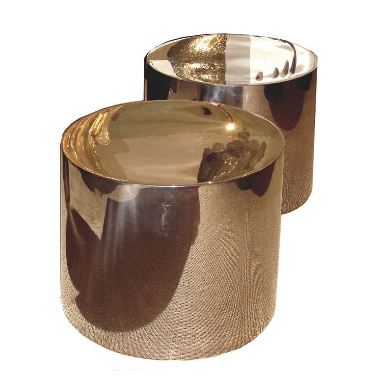 Chrome Drum Coffee Table: Striking Drum Shaped Chrome Side Tables At 1stdibs