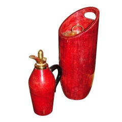 Parchment, fire red carafe and large ice bucket  by Aldo Tura