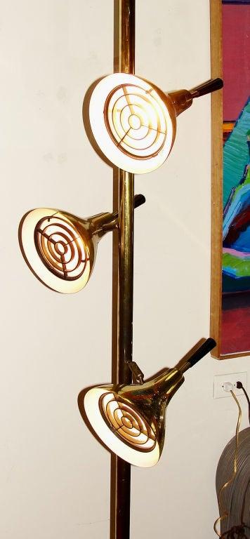 Sleek Mid Century Brass Pole Floor Lamp At 1stdibs