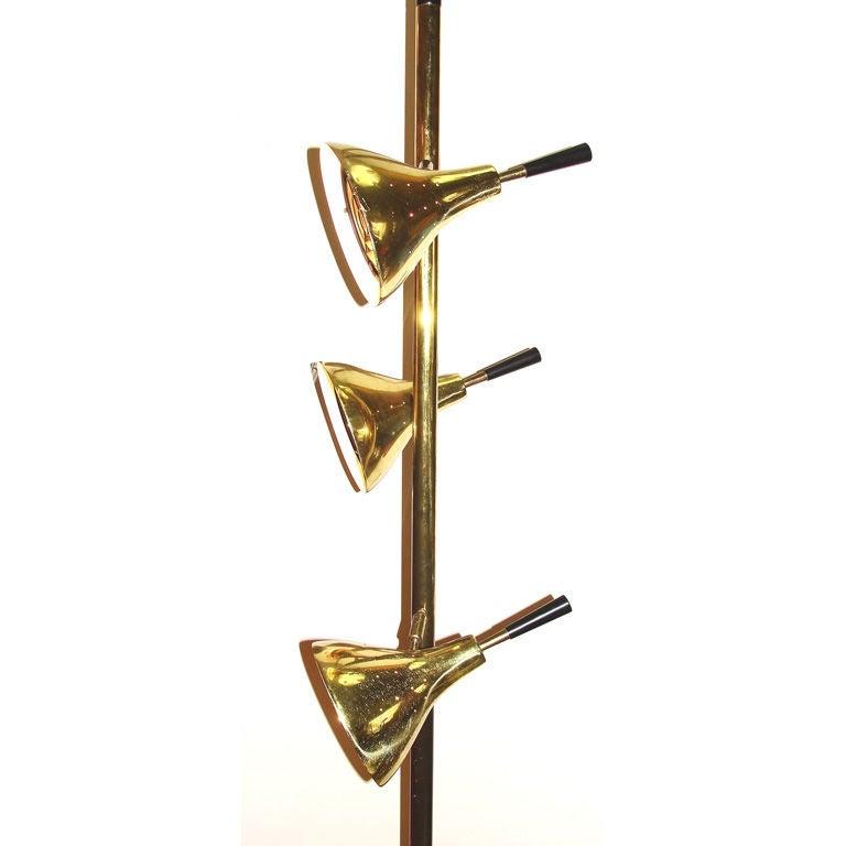sleek mid century brass pole floor lamp at 1stdibs. Black Bedroom Furniture Sets. Home Design Ideas