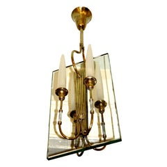 Brass Chandelier in the Manner of Fontana Arte, Italy, 1940s