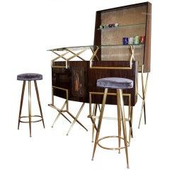 Italian 50's mohogany  bar counter, cupboard and stools set