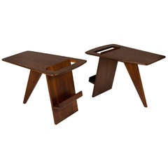 Pair of Wedge Top Magazine Tables by Jens Risom