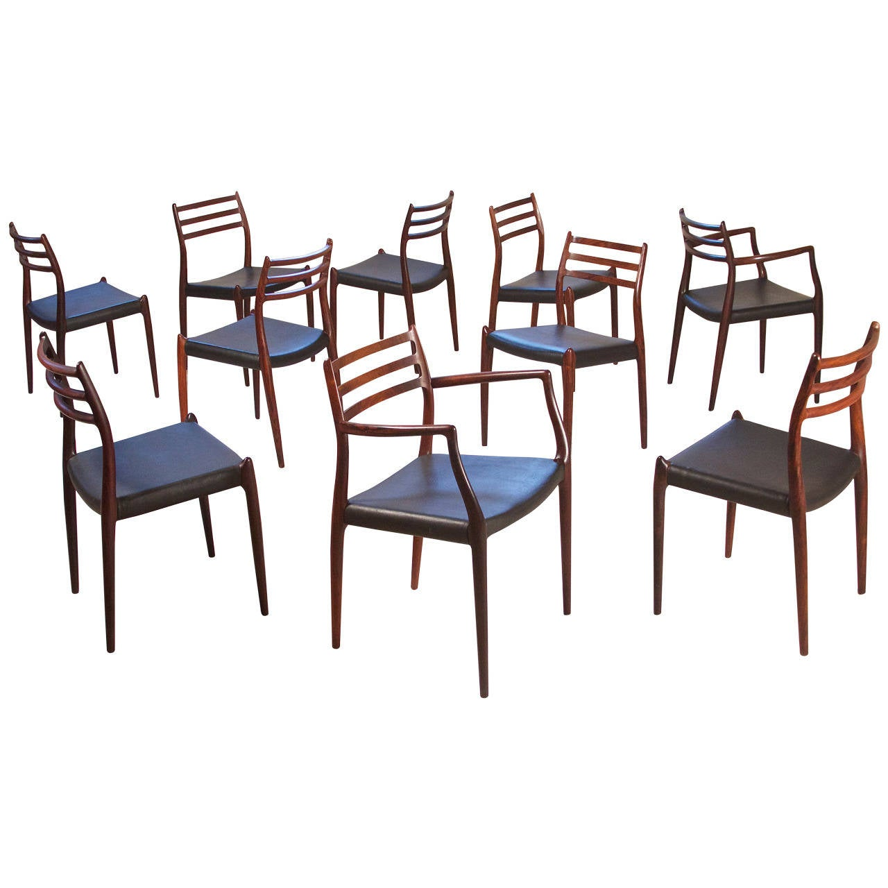 """Set of Ten """"Carver's Chairs"""" by Niels Otto Møller"""