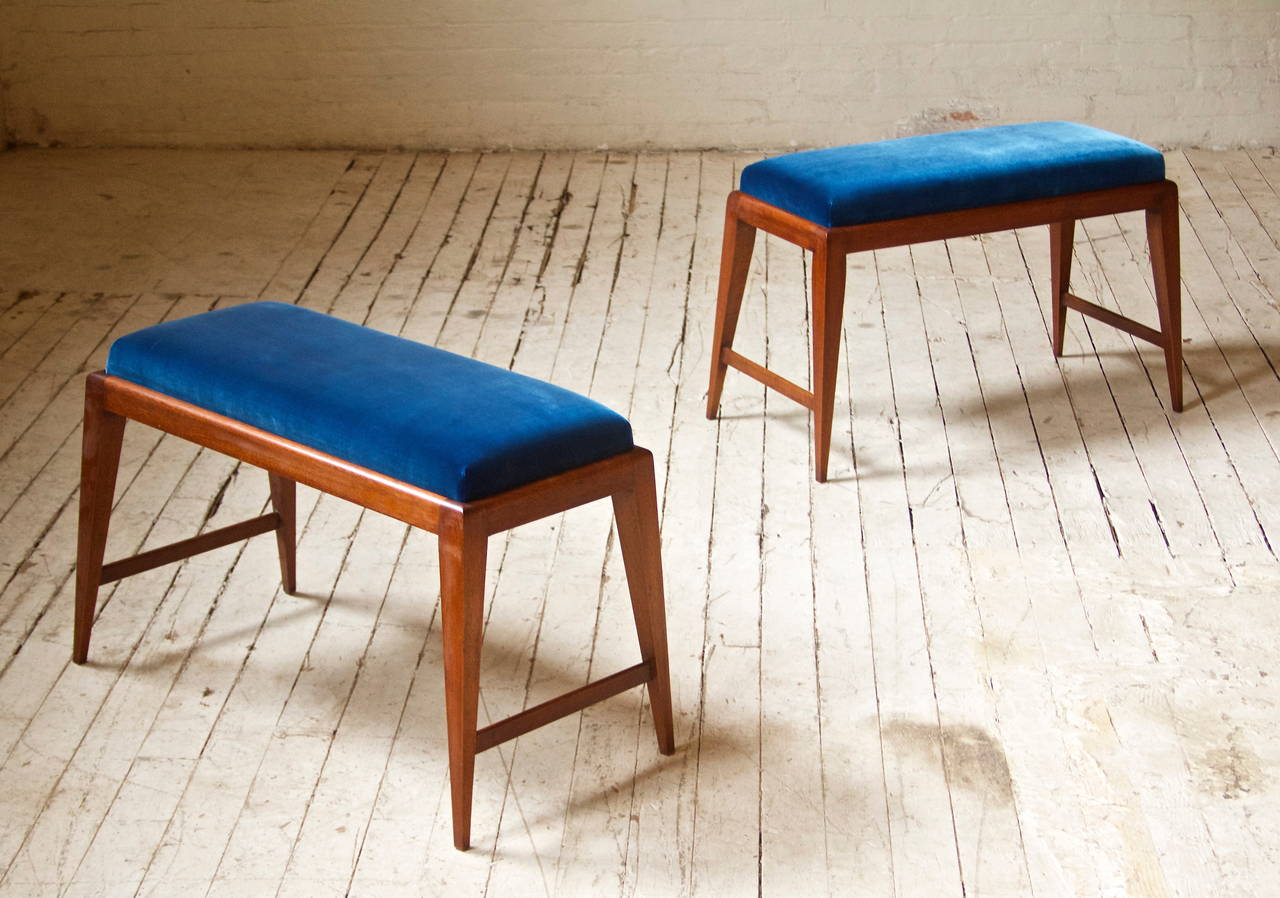 Italian Pair of Benches in the Style of Gio Ponti