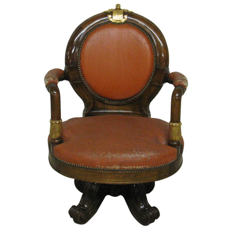 French Empire Mahogany and Parcel-Gilt Library Armchair