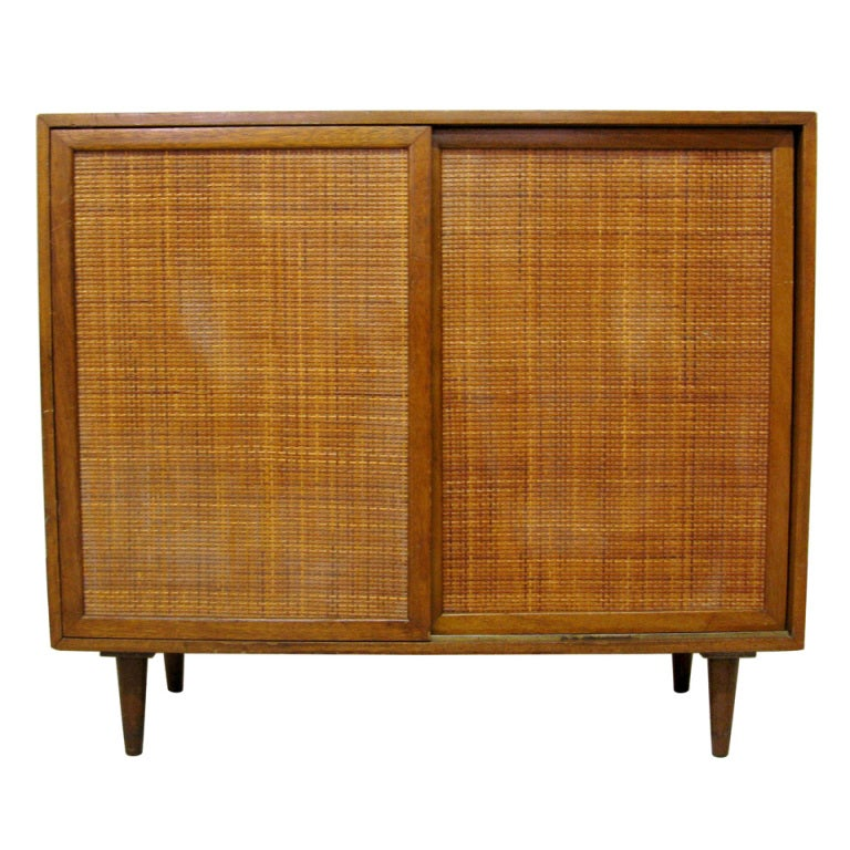 Harvey probber mahogany and rattan cabinet at stdibs