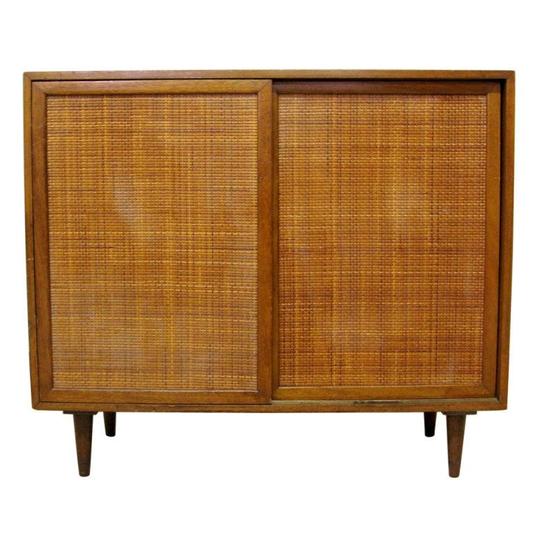 Harvey probber mahogany and rattan cabinet at stdibs