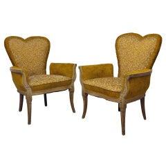 Pair of 1940s Hollywood Regency Fireside Armchairs