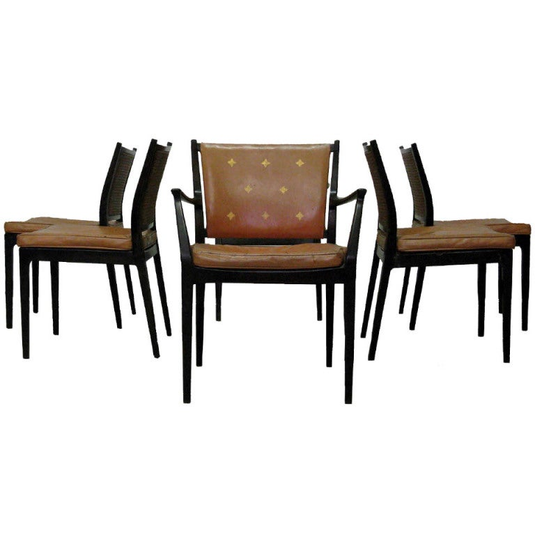Set of Six Midcentury Dining Room Chairs by Harvey Probber at 1stdibs