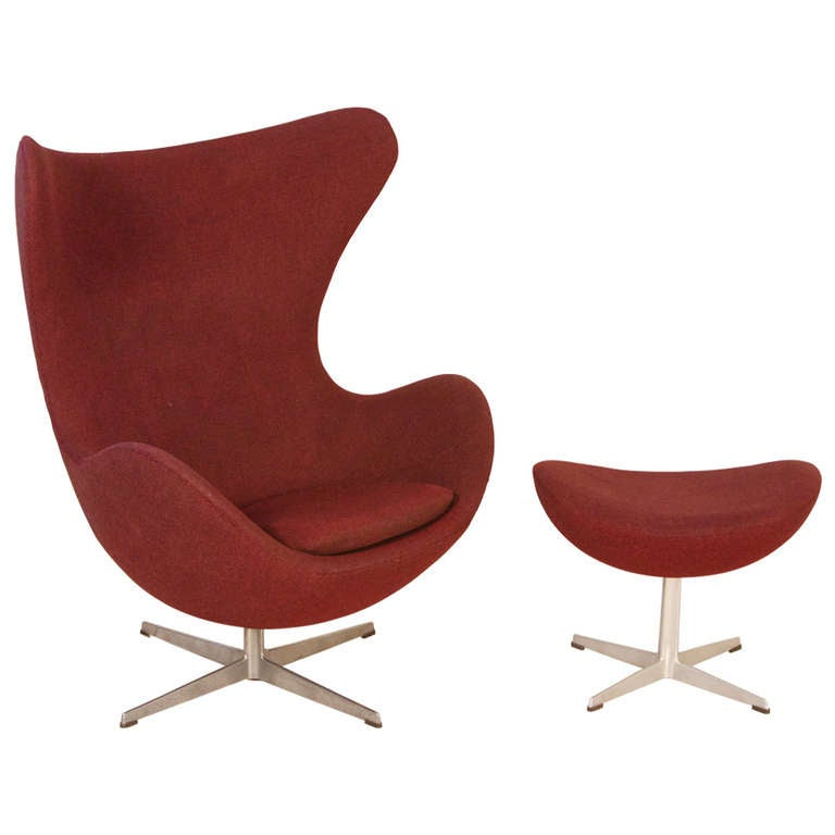 """Arne Jacobsen """"Egg"""" Chair and Footstool"""
