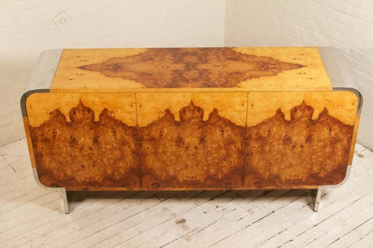 Mid-Century Modern Stunning Burlwood Sideboard by Pace Collection