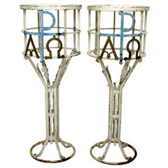 Pair of Painted Iron Pedestals