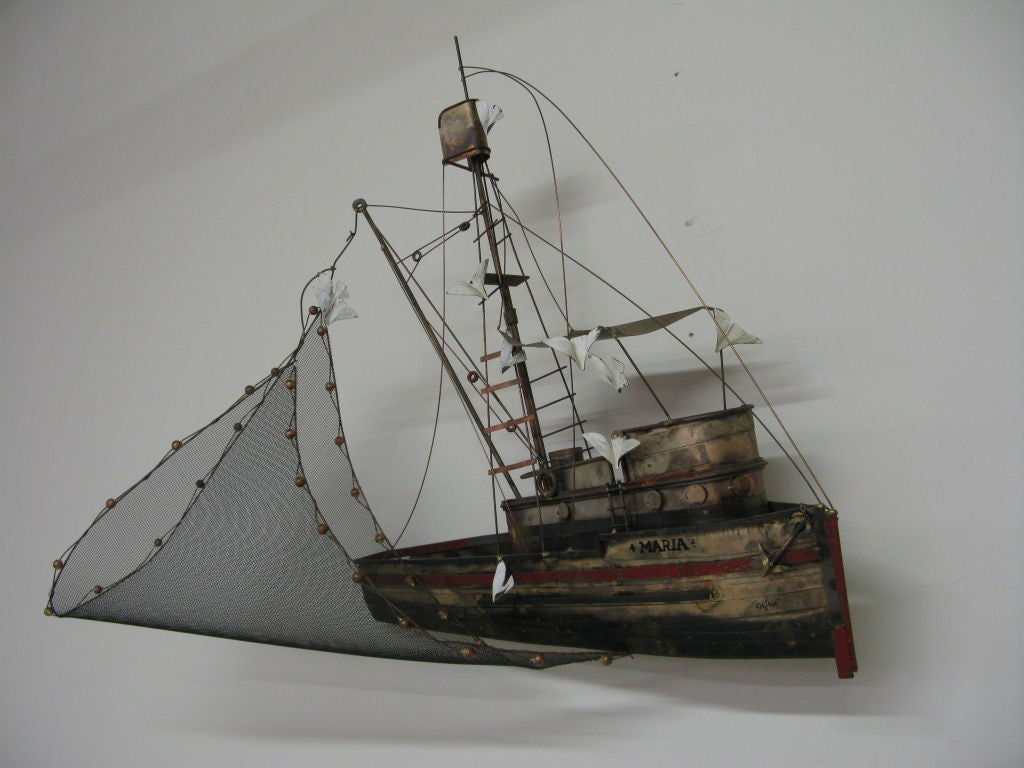 C. Jere signed metal MARIA fishing boat wall sculpture.