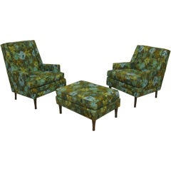 Pair of Wing Chairs with Ottoman