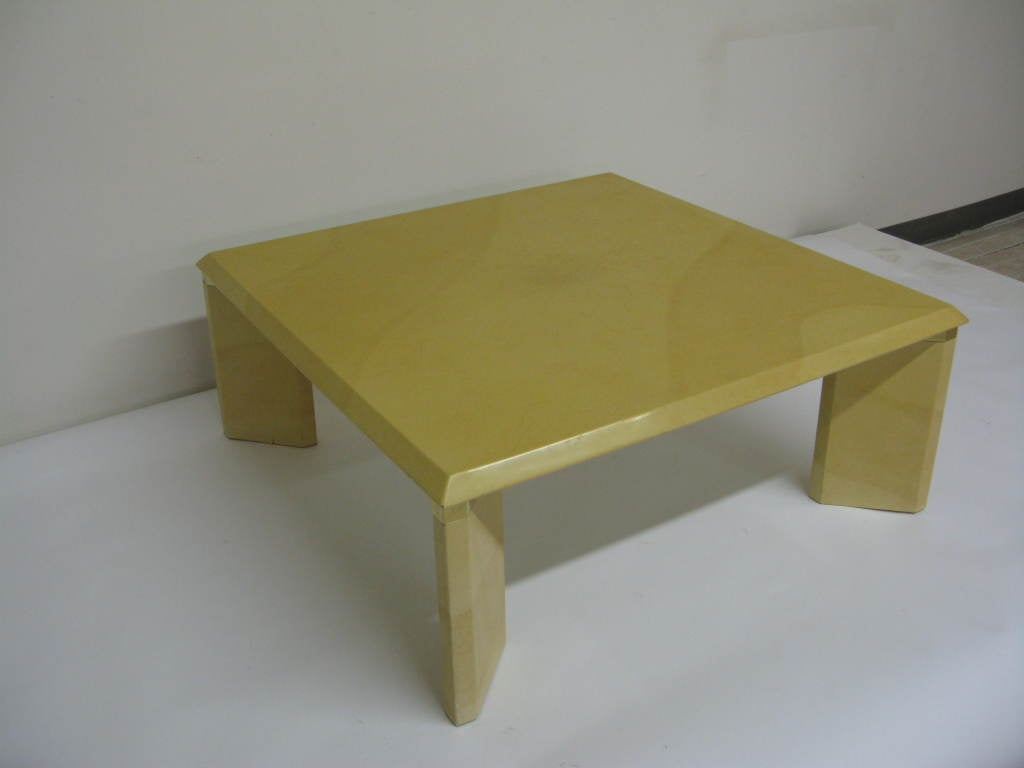 Faux parchment lacquer coffee table at 1stdibs for Lacquer coffee table