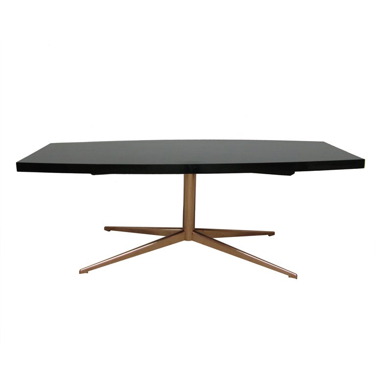 Midcentury French Black Lacquer Table
