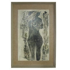 """Young Girl"" Clay Cut Lithograph by Syd Solomon"