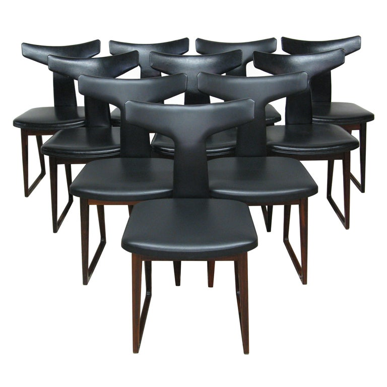 Set of 10 Dining Chairs by Arne Vodder