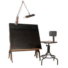 Vintage Drafting Table and Chairs