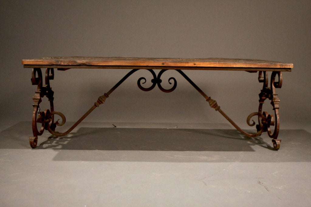 ... Reclaimed Wood And Iron Bar Stool moreover Wrought Iron Coffee Table