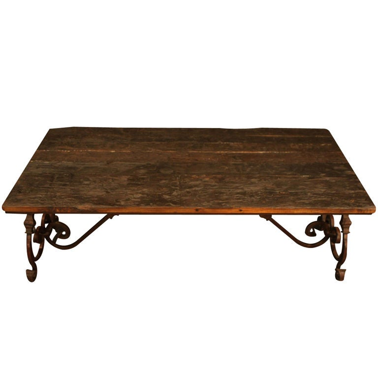 Marble Coffee Table Ornate: Ornate Wrought Iron And Wood Coffee Table At 1stdibs