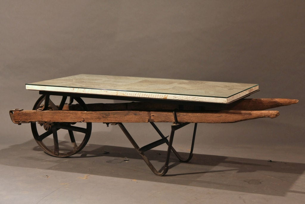 Antique French Lettered Wheel Barrow Coffee Table At 1stdibs