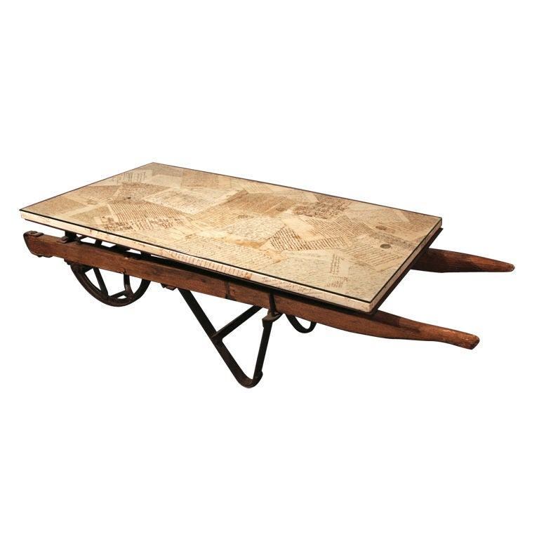 Antique french lettered wheel barrow coffee table at 1stdibs Antique wheels for coffee table