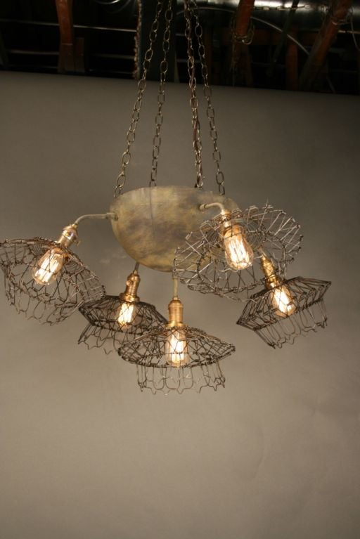 Wire basket chandelier voila creations at 1stdibs - Wire basket chandelier ...