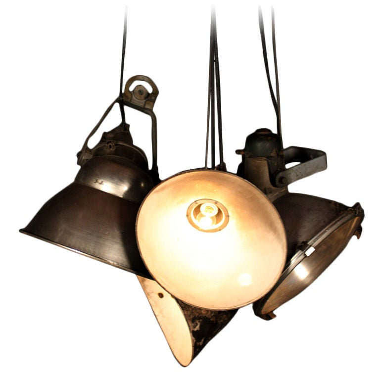 Industrial Hanging Light Cluster At 1stdibs
