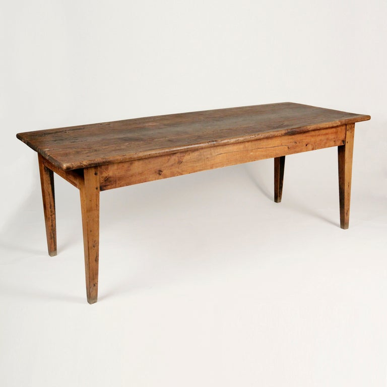 French Lindenwood Dining Farm Table at 1stdibs