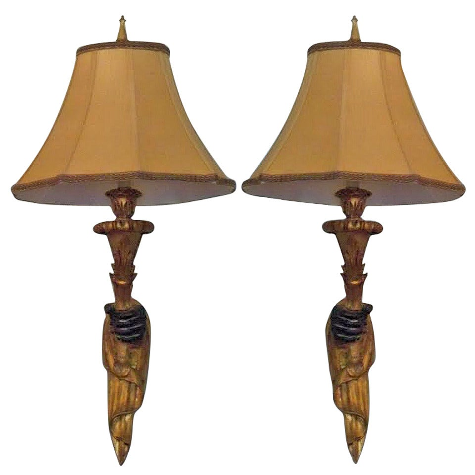 Blackamoor Wall Sconces : Pair of 20th Century French Painted Giltwood Sconces with Blackamoor Motif at 1stdibs