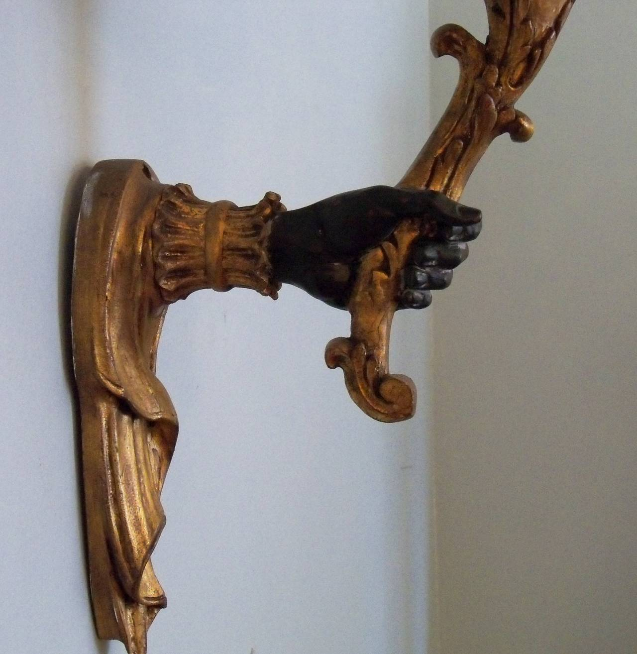 Pair of 20th Century French Painted Giltwood Sconces with Blackamoor Motif For Sale at 1stdibs