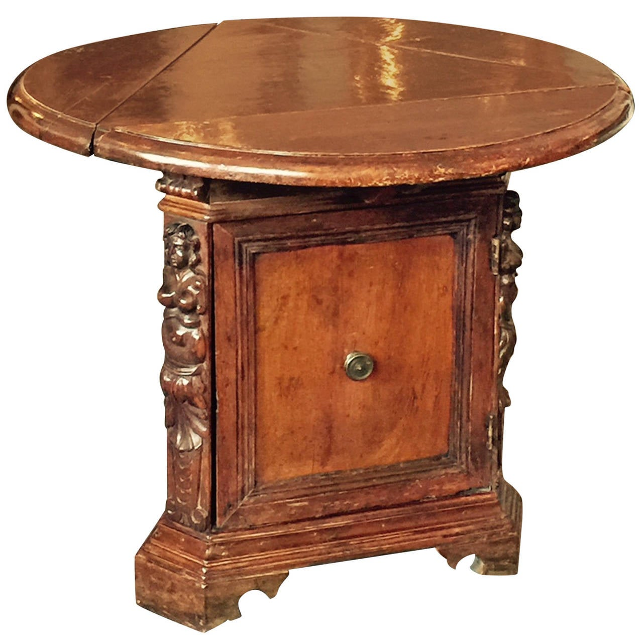 18th Century Italian Small Walnut Drop Leaf Side Table At