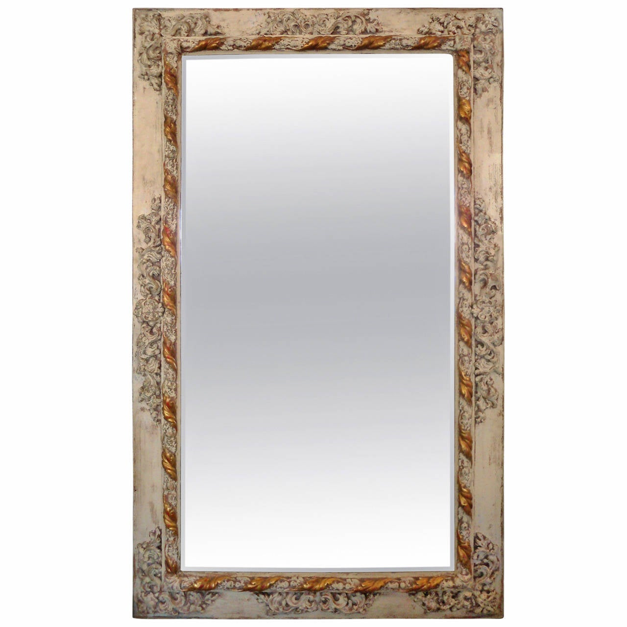 Rustic painted italian mirror at 1stdibs for Rustic mirror