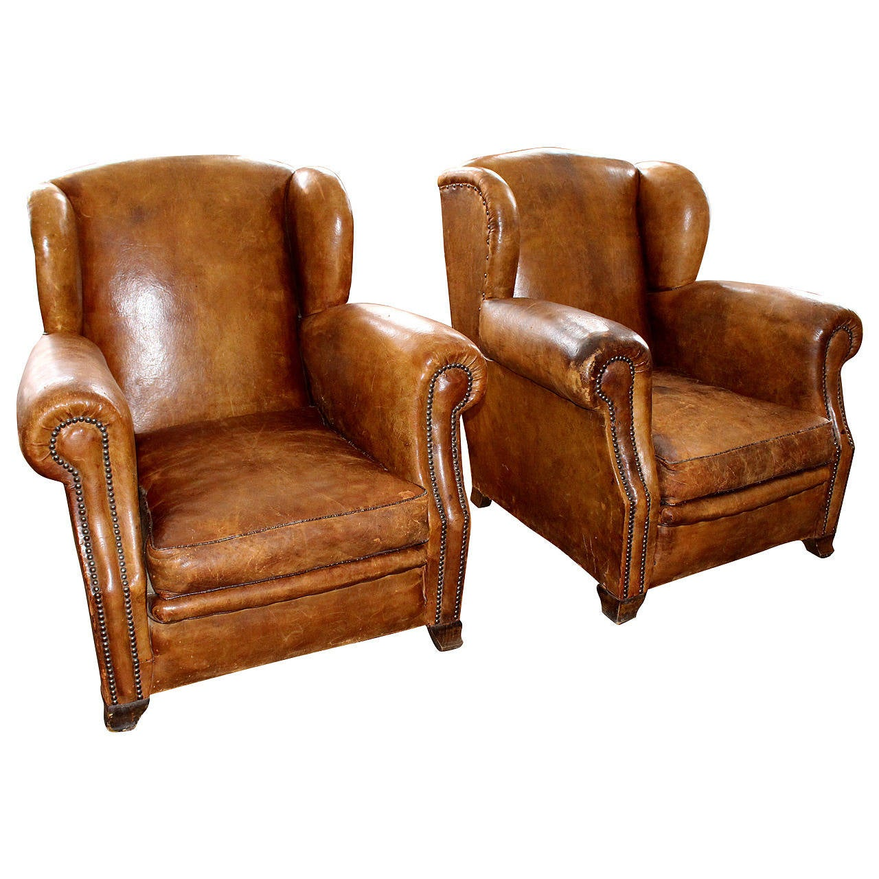Vintage Pair Of French Leather Club Chairs At 1stdibs