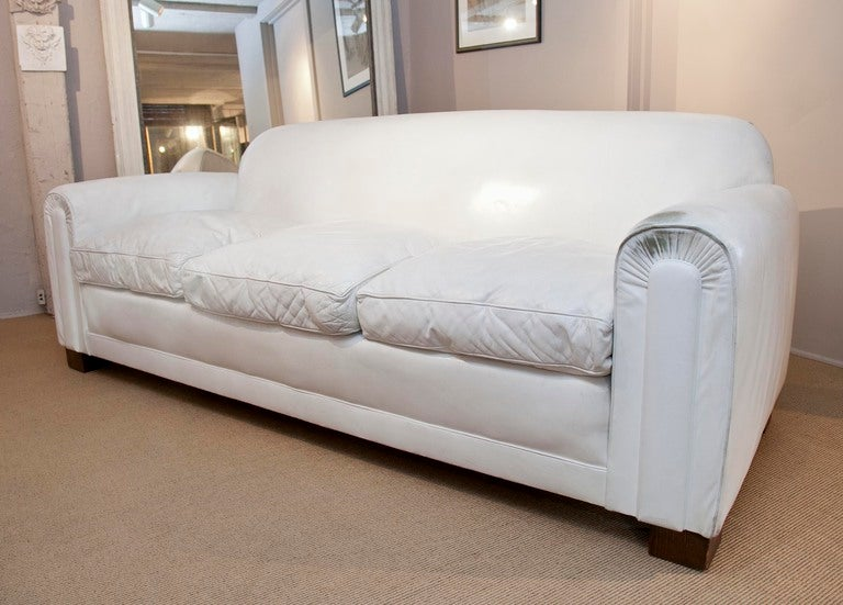 Deco Style White Leather Sofa At 1stdibs - leather sofa traditional white