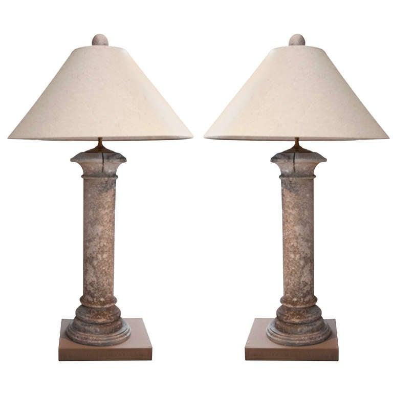 Pair of Concrete Pilaster Lamps
