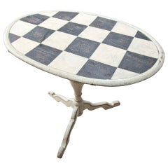 Tilt-top Checkerboard Painted Table