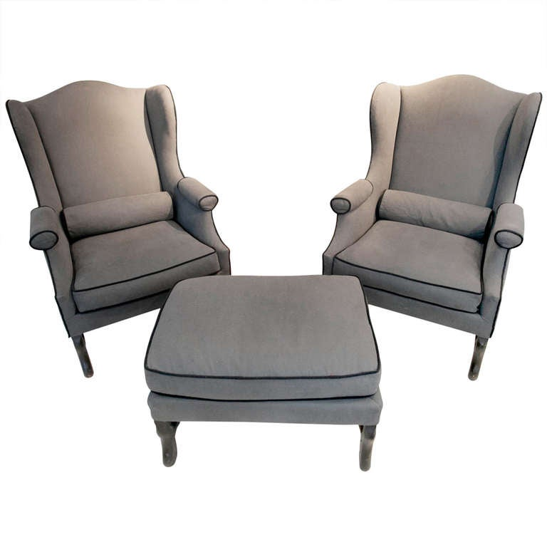 Pair Of 19th Century Os De Mouton Wingback Chairs With Matching Ottoman For