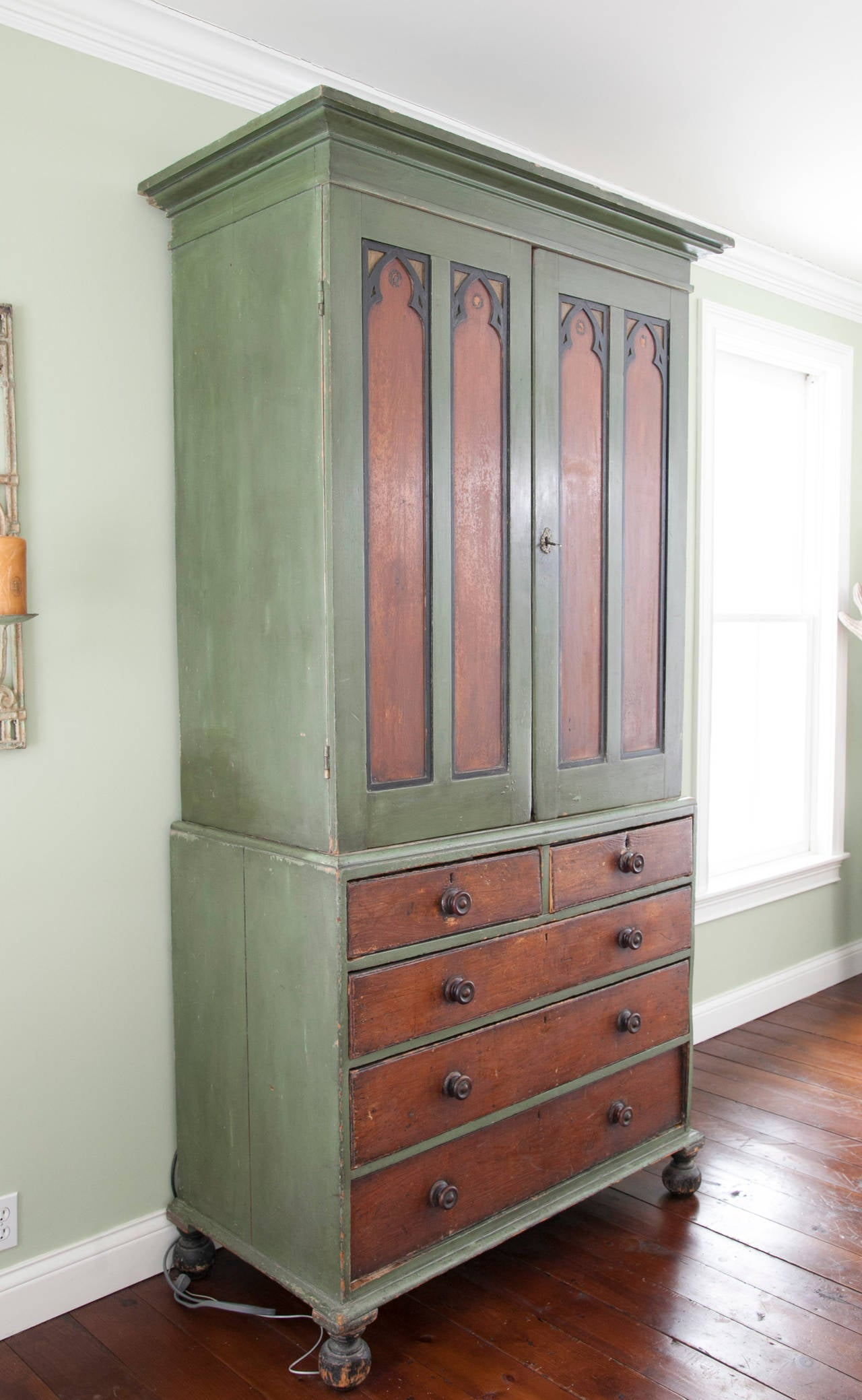 19th Century Painted Gothic Influenced Armoire For Sale