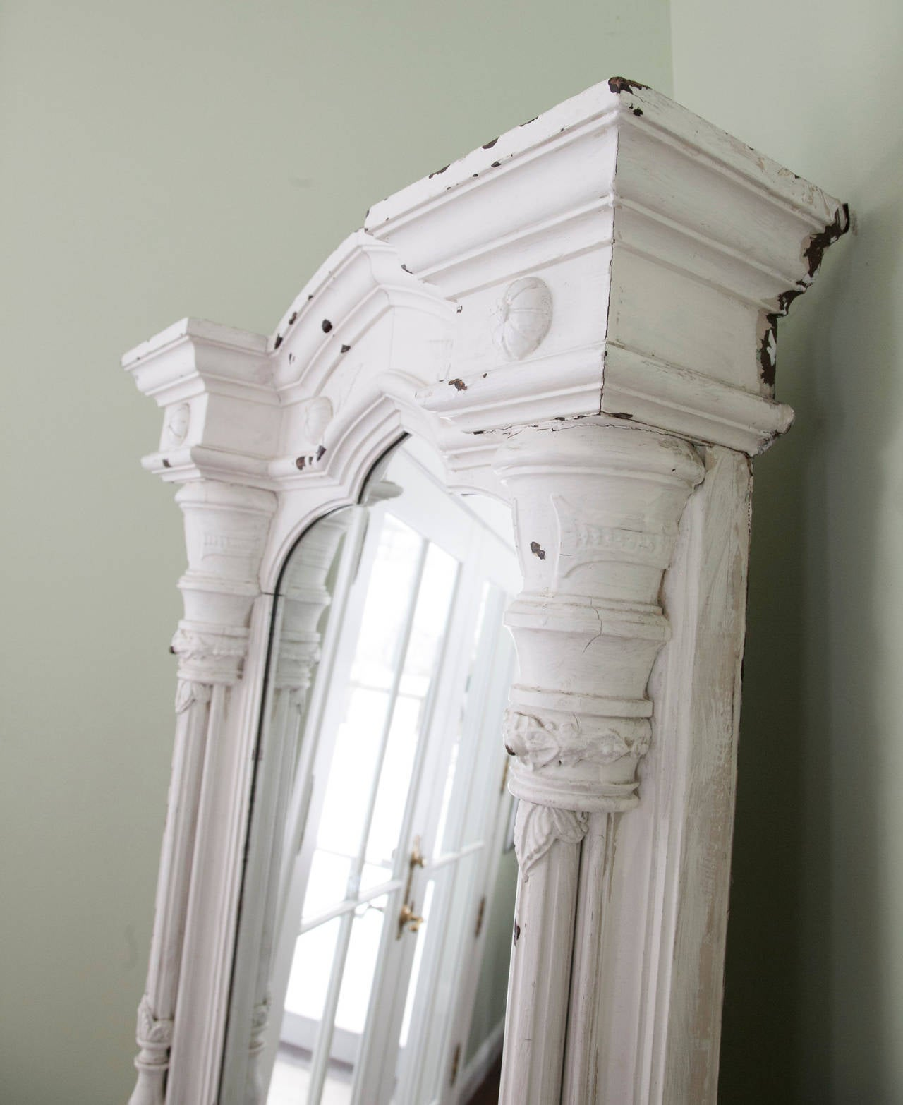 Painted Carved Architectural Mirror For Sale
