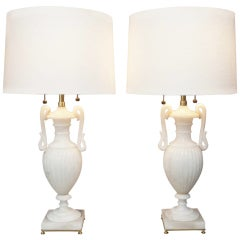 Pair of Alabaster Urn Lamps