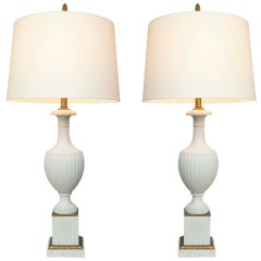 Pair of White Bisque Urn Form Lamps