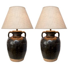 Pair of Brown-Glazed Pottery Lamps