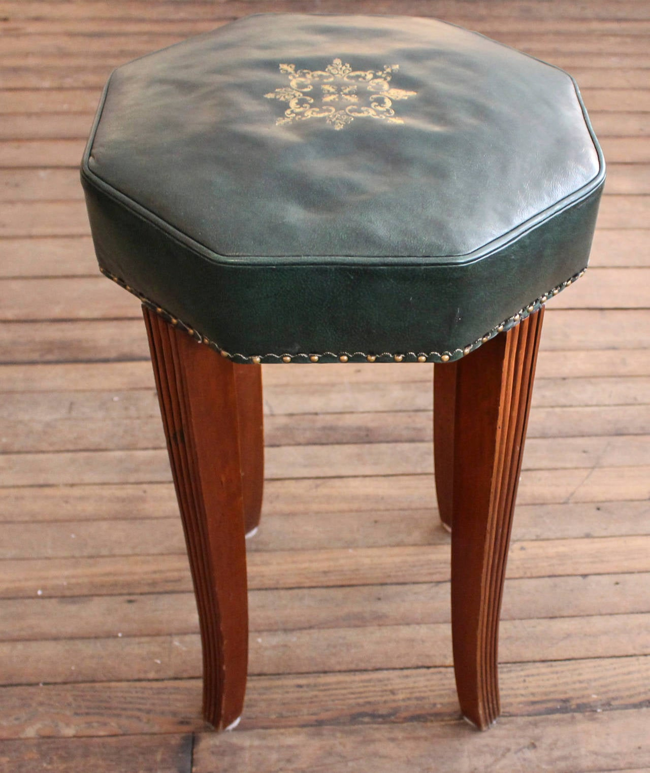 Pair of Vintage Leather Counter Stools 2