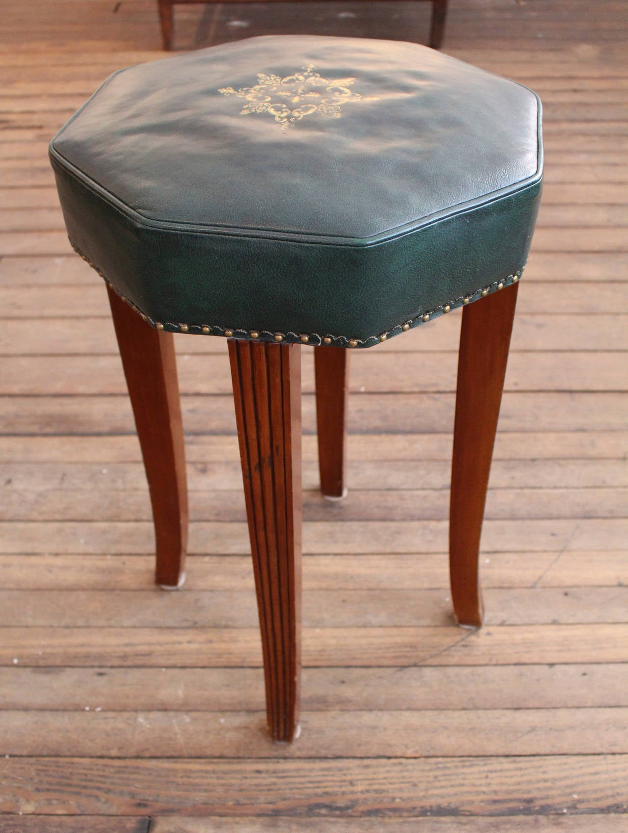 Pair of Vintage Leather Counter Stools 3