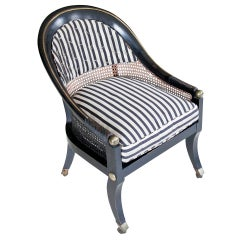 Ebony Barrel-Back Chair