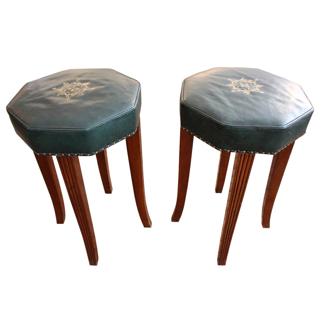 Pair Of Vintage Leather Counter Stools For Sale At 1stdibs